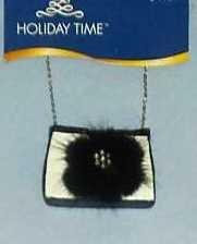 New French Purse Black White Handbag Christmas Holiday Ornament