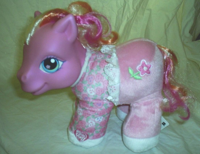 "My Little Pony Rose Blossom with brush Soft 9"" Plush Toy Hasbro 2003"