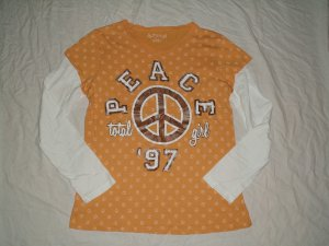 Total Girl Peace Sign Long Sleeve T-Shirt Top Girls Plus Size L 14.5 16.5