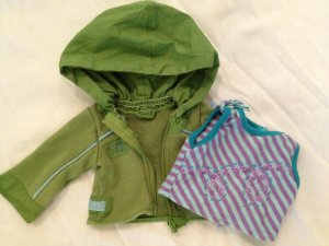American Girl of Today Kickin' Back Retired Set Top/ green Jacket Doll Clothes 18 inch for Kailey