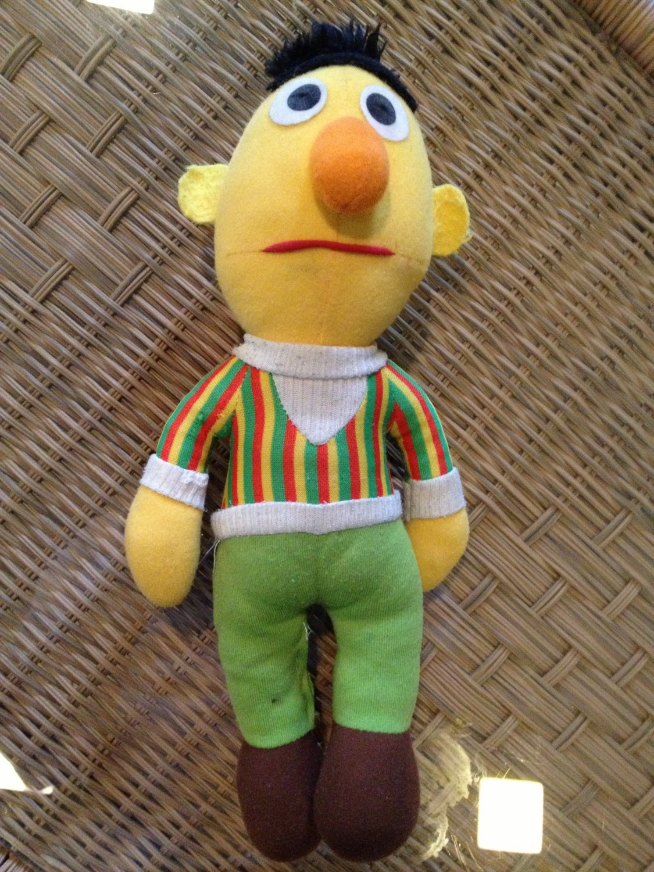 "Vintage Hasbro Softies Bert Soft Doll 13"" Stuffed Toy Sesame Street 80's"
