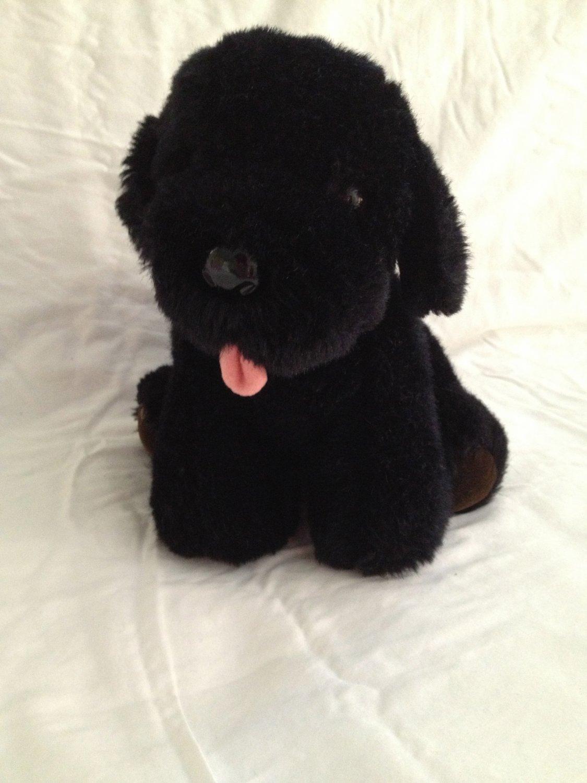 "Vintage Dakin Black Lab Labrador 9"" Plush 1985 Toy Stuffed Animal Puppy Dog"
