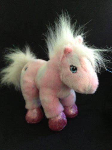 "Ganz Webkinz Plush Pink White Horse 8"" Pony HM117 Glitter Mane Tail No Code"