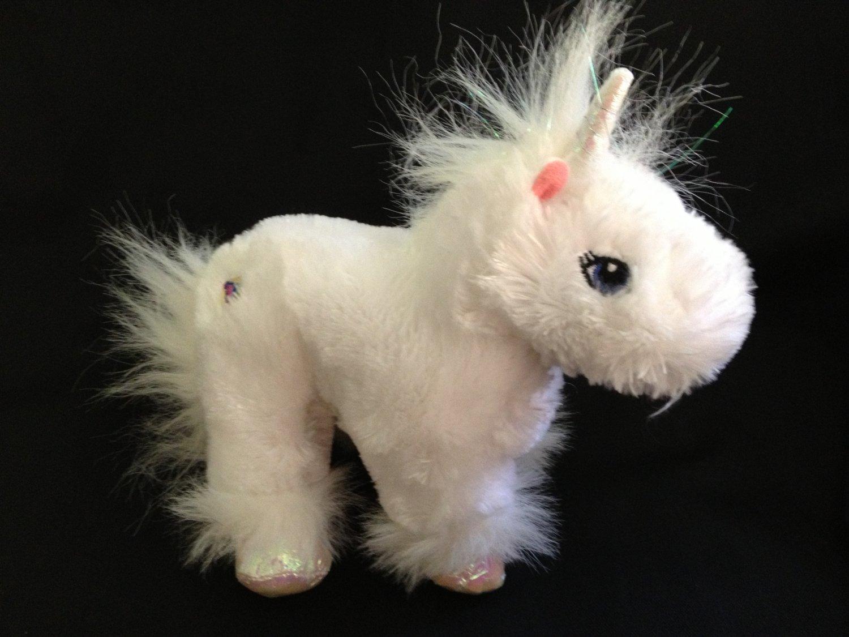 "Ganz Webkinz Plush White Lil' Kinz Unicorn Horse 7"" Pony HS069 Glitter Mane Tail No Code"