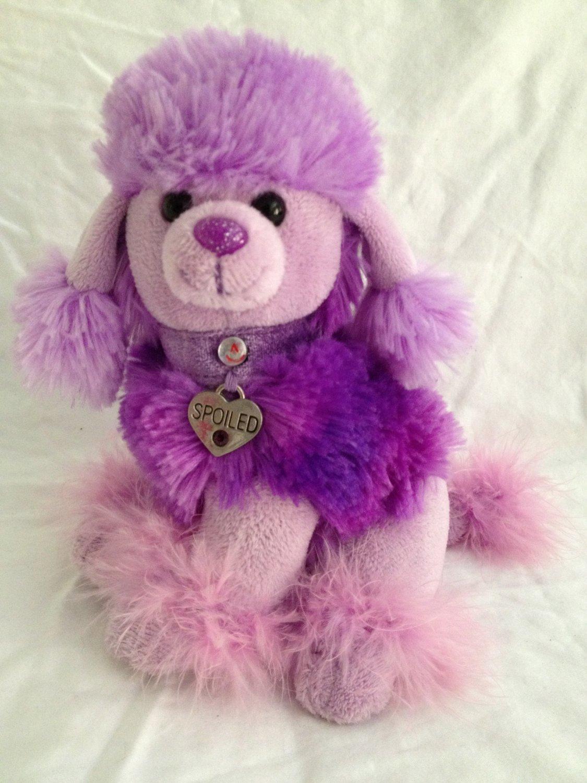 "Aurora Plush Purple Poodle So Spoiled 7"" Maribou Dog"