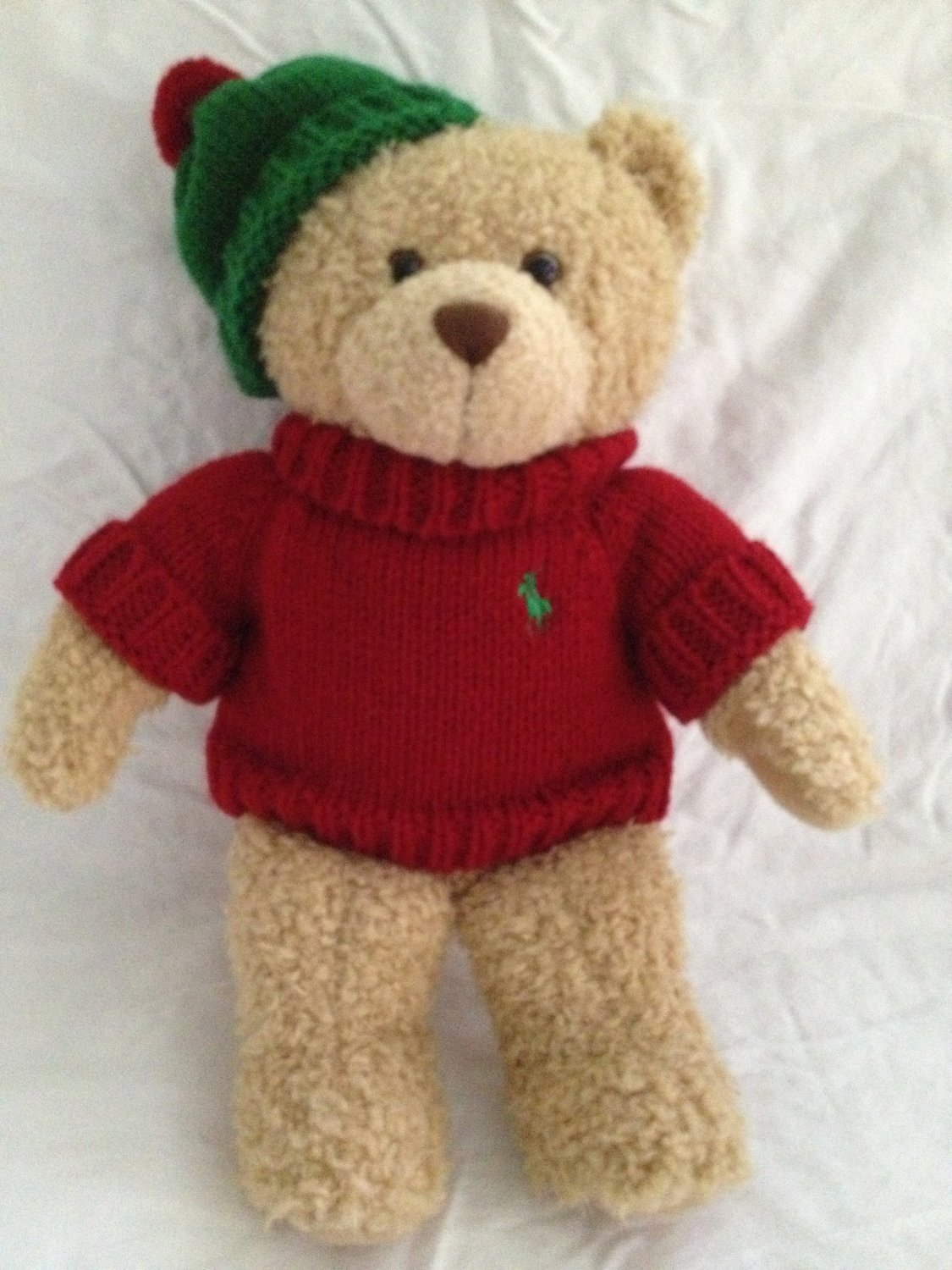 Ralph Lauren 2006 Christmas Teddy Bear That Cares Plush Toy in Red Sweater Hat