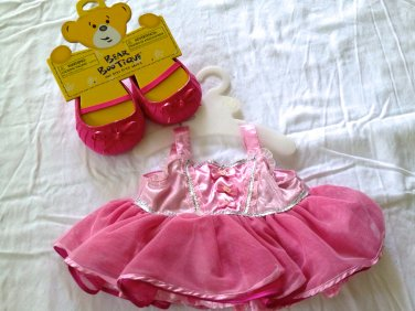 Build-a-Bear Workshop Pink Tutu Ballerina Dress & Shoes Clothes Outfit with Hangers