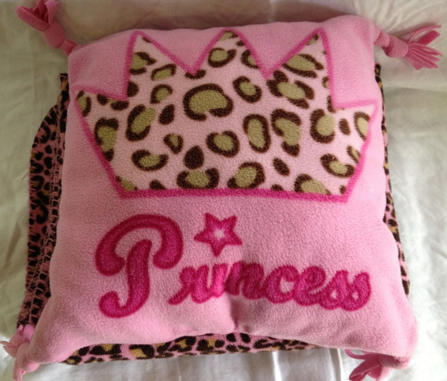 Throw Pillow Blanket Set : Leopard Print Princess Pink Fleece Blanket Throw Pillow Set