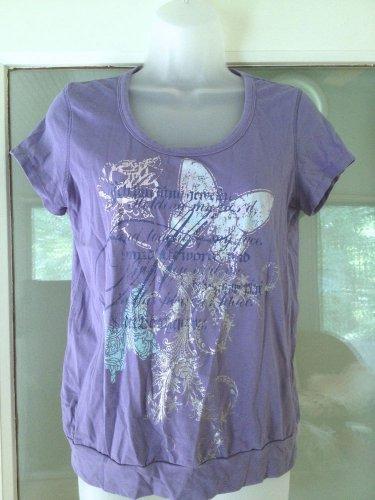 Gloria Vanderbilt Top Women Size S Blouse Banded Bottom Hem Butterfly T-Shirt