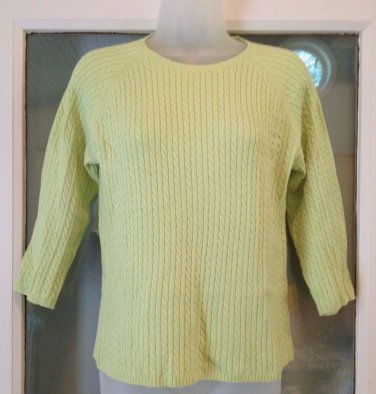 L.L. Bean Crew neck Cable-knit Green Sweater Women's Size XS Cotton 3/4 sleeve