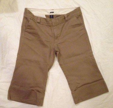Gap Stretch Capris Women's Size 8 Cuffed Brown Textured Stripe Capri Pants