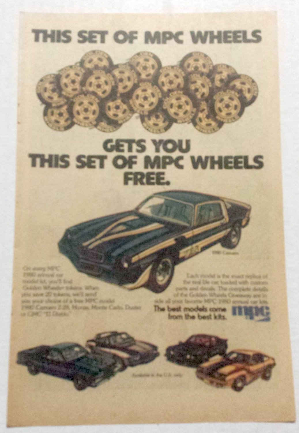 MPC WHEELS MPC / GMC VINTAGE COMIC AD - 1980