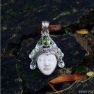 925 Silver Bali Moon Face 31mm Natural Bone  Inlay Pendant PS38