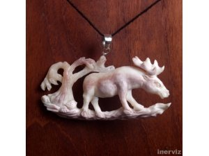 "Hand Carved Moose 3"" Buffalo Bone 925 Sterling Silver Pendant BP1131"