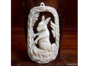 "Hand Carved Rabit Bunny 3"" Natural Buffalo Bone Pendant Bead Necklace P1109"