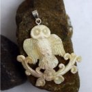 "Hand Carved Owl 2.6"" Natural Buffalo Bone 925 Silver Pendant BP1445"