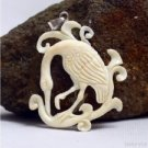 "Hand Carved Stork 2.6"" Buffalo Bone 925 Sterling Silver Pendant BP1454"