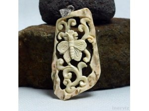 "Hand Carved Butterfly 2.7"" Natural Deer Antler Pendant Silver 925 AP1530"