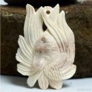 "Hand Carved Bear 2.2"" Natural Buffalo Bone Pendant Bead Necklace BP1569"