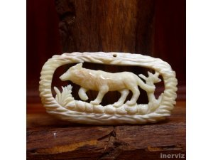 "Hand Carved wolf 2."" Natural Buffalo Bone Pendant Bead Necklace Jewelry BP1167"