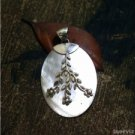 925 Sterling Silver Foliage 57mm Technique Hoop Natural shell Bali Pendant PS45