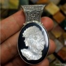Hand Carved Goddess 60mm Natural Shell 925 Sterling Silver Bali Pendant Cameo