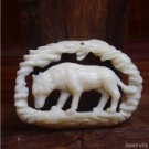 "Hand Carved Wolf  2.3"" Buffalo Bone Pendant Bead Necklace BP1183"