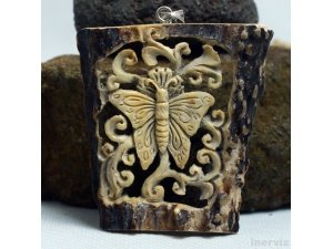 "Hand Carved Butterfly 2.8"" Natural Deer Antler Pendant Silver 925 AP1513"