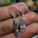 25mm Balinese Floral Motive 925 Sterling Silver w 18K Gold Bali Dangle Earring