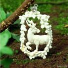 "Hand Carved Deer 2.9"" Natural Buffalo Bone 925 Silver Pendant BP1585"