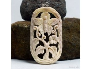"Hand Carved Butterfly 2.2"" Natural Buffalo Bone 925 Silver Pendant BP1603"