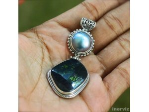 925 Silver Stork 42mm Natural Mabe Pearl Seashell n Jade Stone Pendant PS39