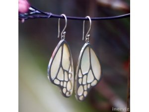 925 Sterling Silver Butterfly Wings 30mm Dangle Earring w 18K Gold Plating ES12