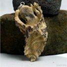 """Hand Carved Octopus 3.1"""" Natural Deer Antler Pendant Sterling Silver 925 AP1523"""