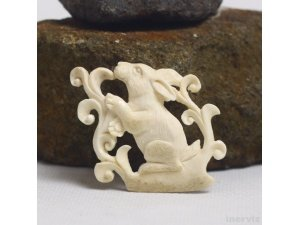 "Hand Carved Rabbit 1.6""Natural Buffalo Bone Pendant Bead Necklace Jewelry BP1408"