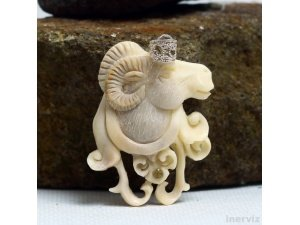 "Hand Carved Goat 2""Natural Labrador Bone Pendant Sterling Silver 925 BP1628"