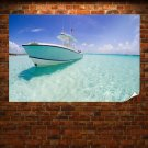 Boat In Paradise Poster 36x24 inch