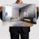Living Room Fireplace Poster 36x24 inch