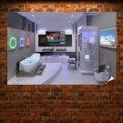 Hi Tech Bathroom Poster 36x24 inch