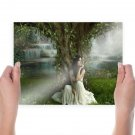 Girl In A White Dress Under A Tree  Poster 24x18 inch