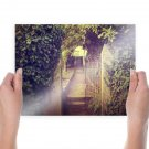 Warm Fence Gate Overgrowth  Poster 24x18 inch
