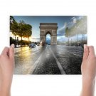 Paris Arc De Triomphe Street Sunlight France  Poster 24x18 inch