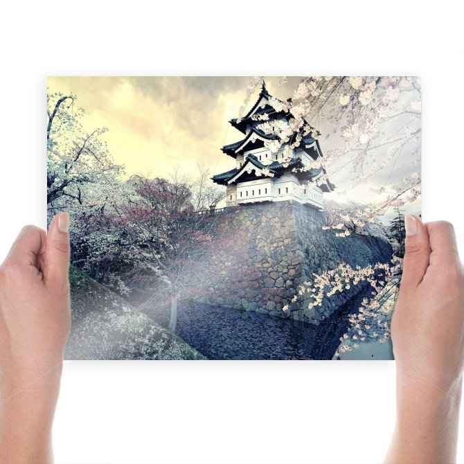 Cherry Blossom Asian Building Tree  Poster 24x18 inch