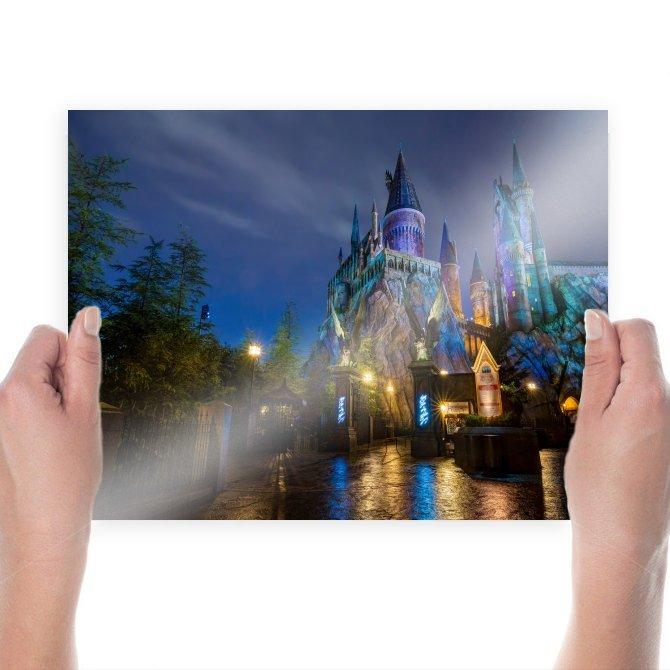 Disneyland Castle Night Hogwarts Island Of Adventure Orlando  Poster 24x18 inch