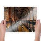 Library Books Hallway Corridor  Poster 24x18 inch