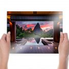 Infinity Pool Deck Tropical Jungle Mountain Reflection  Poster 24x18 inch