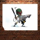 Boba Fett Star Wars White  Poster 32x24 inch
