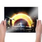 Future City Spaceship Star Planets  Poster 24x18 inch
