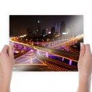 Buildings Skyscrapers Freeway Highway Shanghai Timelapse Night Tv Movie Art Poster 24x18 inch