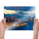 Hong Kong Buildings Skyscrapers Night Ocean Coast Tv Movie Art Poster 24x18 inch